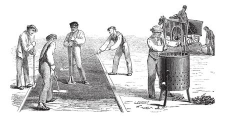 Old engraved illustration of road workers doing asphalt. Industrial encyclopedia E.-O. Lami - 1875. Ilustração