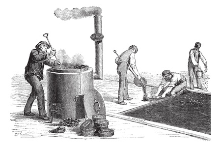 Old engraved illustration of Road workers making the pavement. Industrial encyclopedia E.-O. Lami - 1875. Vector