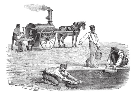 Old engraved illustration of road workers making pavement with the help of steam engine. Industrial encyclopedia E.-O. Lami - 1875. Vector