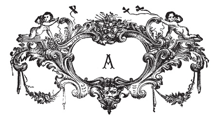 cherubs: Old engraved illustration of an ornament with two cherubs isolated on a white background. Industrial encyclopedia E.-O. Lami - 1875.