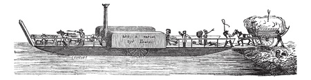 tug: Old engraved illustration of steam tug boat with passengers. Industrial encyclopedia E.-O. Lami - 1875.