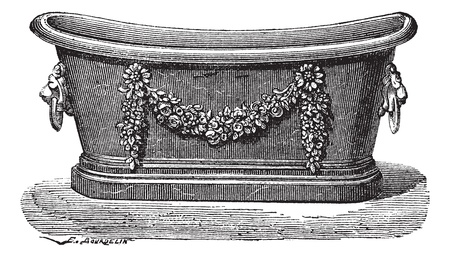 Old engraved illustration of zinc bathtub. Industrial encyclopedia E.-O. Lami - 1875. Vector