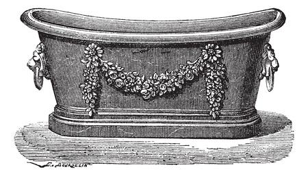 embellished: Old engraved illustration of zinc bathtub. Industrial encyclopedia E.-O. Lami - 1875.
