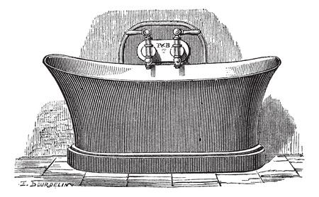 ba�o blanco: Ilustraci�n del Antiguo grabado de la ba�era de cobre, que se establece para el ba�o p�blico. Industrial enciclopedia E.-O. Lami - 1875.
