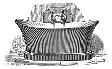 bath tub: Old engraved illustration of copper bathtub, which is established for public bathing. Industrial encyclopedia E.-O. Lami - 1875.