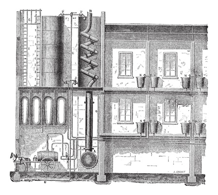 Old engraved illustration of the installation of a public bath diagram. Industrial encyclopedia E.-O. Lami - 1875.