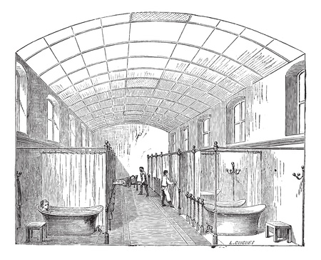 cultural history: Old engraved illustration of the hall for single bath in Hopital Saint-Louis in Paris, France. Industrial encyclopedia E.-O. Lami - 1875. Illustration