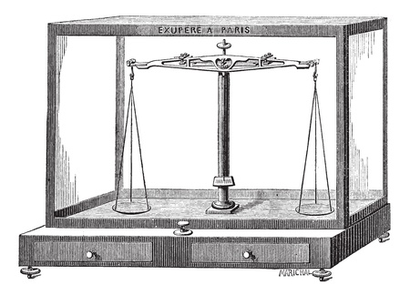 Old engraved illustration of Analytical balance scale isolated on a white background. Industrial encyclopedia E.-O. Lami - 1875.   Vector