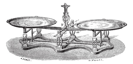 antique weight scale: Old engraved illustration of Roberval balance scale isolated on a white background. Industrial encyclopedia E.-O. Lami - 1875.