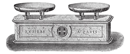 antique weight scale: Old engraved illustration of Balance pendulum scale isolated on a white background. Industrial encyclopedia E.-O. Lami - 1875.