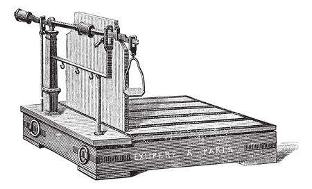 steelyard: Old engraved illustration of Steelyard balance or steelyard isolated on a white background. Industrial encyclopedia E.-O. Lami - 1875.   Illustration