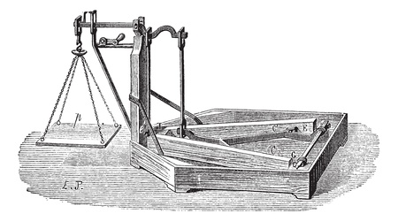 weighing scale: Old engraved illustration of Quintenz scale. Industrial encyclopedia E.-O. Lami - 1875.