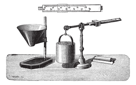 precision: Old engraved illustration of Grains scale isolated on a white background. Industrial encyclopedia E.-O. Lami - 1875.
