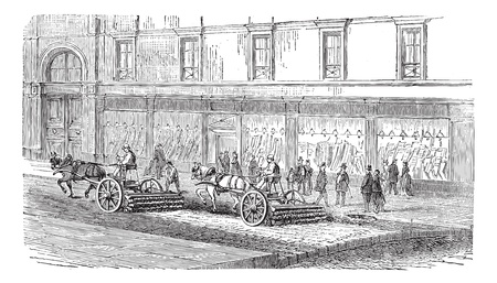 Old engraved illustration of people sweeping the street with carts, this was the way of cleaning the streets before mechanical brooms machine came into existence. Industrial encyclopedia E.-O. Lami - 1875. Stock Vector - 13770881