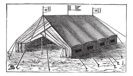 Old engraved illustration of Double-wall tent of the army. Industrial encyclopedia E.-O. Lami - 1875.