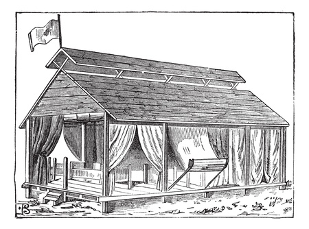 barrack: Old engraved illustration of the structure of Barrack tent (type 1) of the army. Industrial encyclopedia E.-O. Lami - 1875.