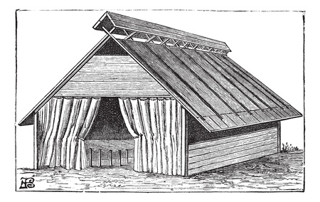 barrack: Old engraved illustration of the structure of Barrack tent (type 2) of the army. Industrial encyclopedia E.-O. Lami - 1875.   Illustration