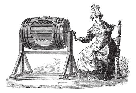 mantequilla: Antiguo grabado ilustración de la mujer con barril batir para hacer mantequilla. Industrial enciclopedia E.-O. Lami - 1875.