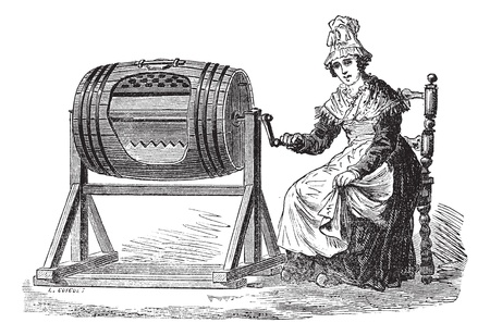 butter: Old engraved illustration of Woman using barrel churn for making butter. Industrial encyclopedia E.-O. Lami - 1875.