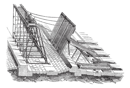 weir: Old engraved illustration of Weirs swing. Industrial encyclopedia E.-O. Lami - 1875.