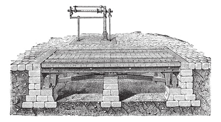 drawbridge: Old engraved illustration of Bascule bridge or drawbridge. Industrial encyclopedia E.-O. Lami - 1875.