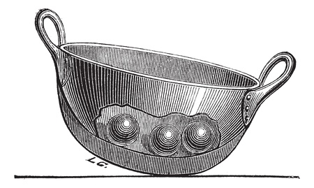 Old engraved illustration of Cooking Pan . Industrial encyclopedia E.-O. Lami - 1875.   Ilustrace