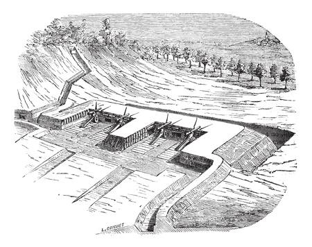 artillery: Old engraved illustration of Artillery batteries on terreplein during siege. Industrial encyclopedia E.-O. Lami - 1875.