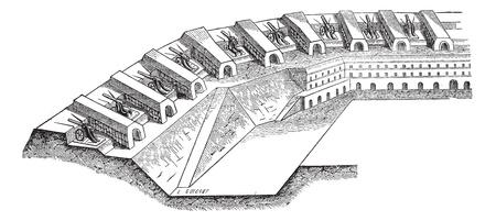 Old engraved illustration of Artillery batteries on place. Industrial encyclopedia E.-O. Lami - 1875.  Çizim