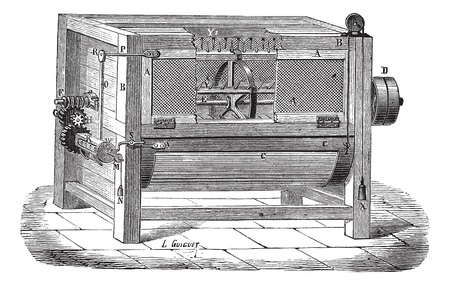 industrial machine: Old engraved illustration of the machine used to process wool. Industrial encyclopedia E.-O. Lami - 1875.