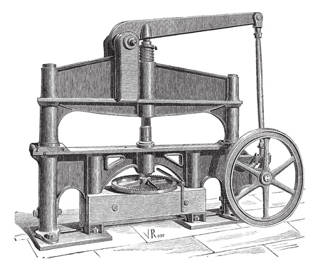 industrial machine: Old engraved illustration of the machine used to process leather. Industrial encyclopedia E.-O. Lami - 1875.