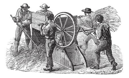 Ilustración Antiguo grabado de cinco personas que utilizan trilladora también conocida como máquina agitaba en el campo. Industrial enciclopedia E.-O. Lami - 1875. Foto de archivo - 13771690