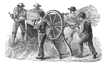 Old engraved illustration of five people using threshing machine also known as thrashing machine in the field. Industrial encyclopedia E.-O. Lami - 1875.   Vector