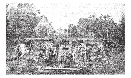 Old engraved illustration of five people making stock ready for threshing machine in the field. Industrial encyclopedia E.-O. Lami - 1875.   Vector