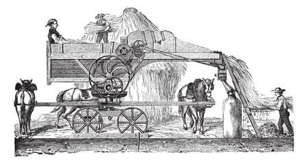 Old engraved illustration of Threshing machine or thrashing machine in the field. Industrial encyclopedia E.-O. Lami - 1875.   Vector