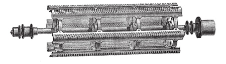 Old engraved illustration of threshing machine beater (Barrett) isolated on a white background. Industrial encyclopedia E.-O. Lami - 1875.