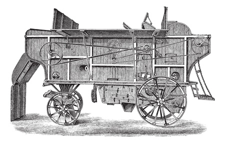 Old engraved illustration of thresher machine (Hornsby). Industrial encyclopedia E.-O. Lami - 1875.   Vector