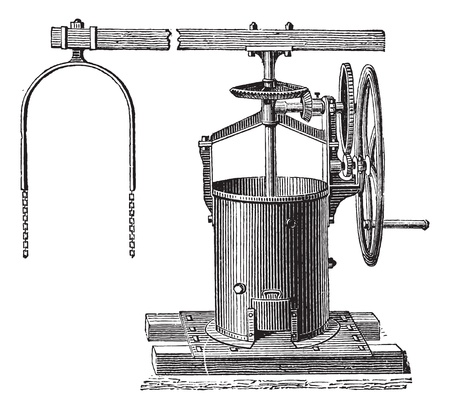 Old engraved illustration of mixer for the preparation of mortar. Industrial encyclopedia E.-O. Lami - 1875.