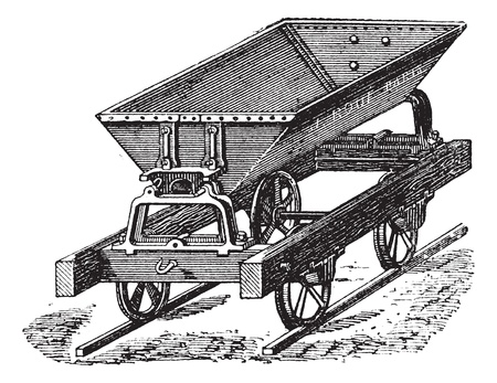 hinged: Old engraved illustration of the dumper box fitted with metal sheet and double hinged switch uses for the transportation of concrete. Industrial encyclopedia E.-O. Lami - 1875.