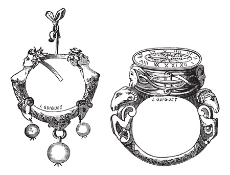 Old engraved illustration of the earring and the ring of the sixteenth century from the collection of Pierre Woeiriot, isolated on a white background. Industrial encyclopedia E.-O. Lami - 1875. Vector