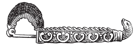 Old engraved illustration of Greek fibula (brooch ) isolated on a white background. Industrial encyclopedia E.-O. Lami - 1875.
