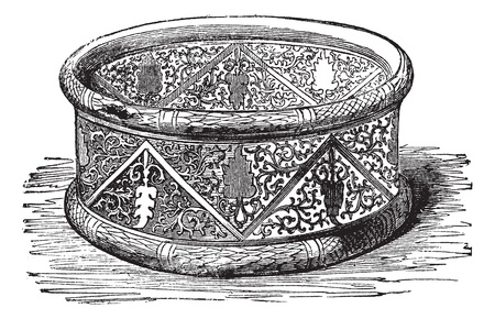 Old engraved illustration of Gallic Bracelet from the Cabinet des Medailles, National Library, France Industrial encyclopedia E.-O. Lami - 1875. Ilustração