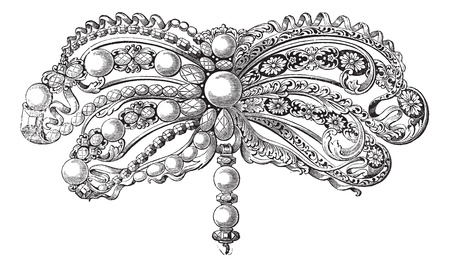 brooch: Old engraved illustration of enamelled Brooch embellished with pearls and diamonds which belongs to seventeenth century, isolated on a white background. Industrial encyclopedia E.-O. Lami - 1875.