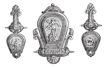 ornament  jewellery: Old engraved illustration of  roman jewellery depicting Gods and allegory, isolated on  a white background. Industrial encyclopedia E.-O. Lami - 1875.