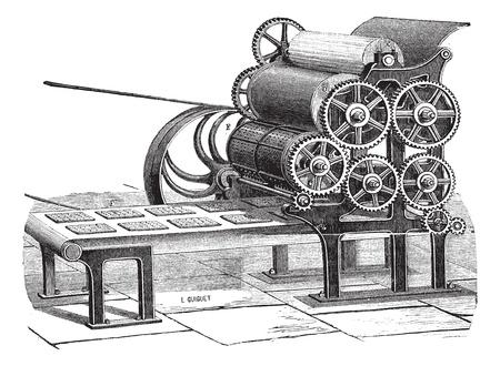 haciendo pan: Ilustración del Antiguo grabado de galleta (Hardtack) que hace la máquina aislada en un fondo blanco. Industrial enciclopedia E.-O. Lami - 1875.
