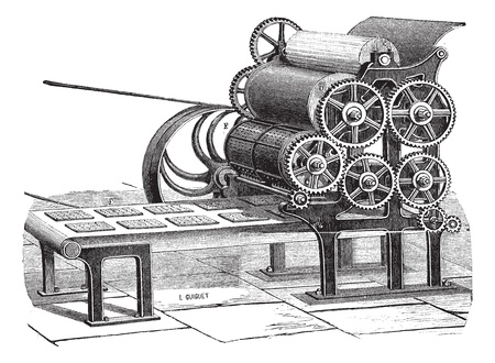industrial machine: Old engraved illustration of biscuit (Hardtack) making machine isolated on a white background. Industrial encyclopedia E.-O. Lami - 1875. Illustration