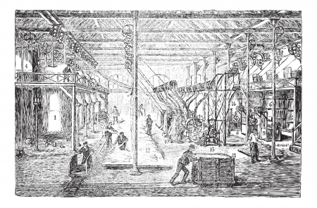 Old engraved illustration of Cotton or cotton fiber whitening factory with many workers working in it. Industrial encyclopedia E.-O. Lami - 1875. Vector