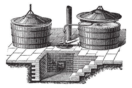 Old engraved illustration of old washing machine with steam pressure. Industrial encyclopedia E.-O. Lami - 1875. Vector