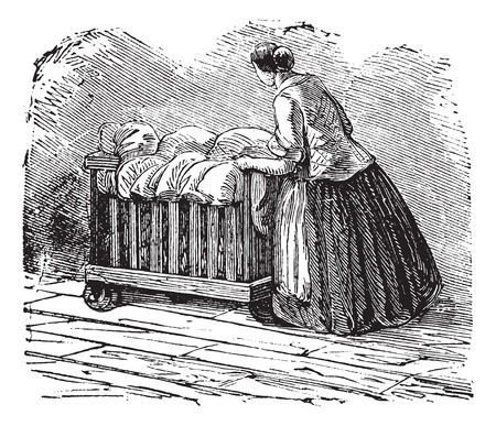 lavadora con ropa: Ilustración del Antiguo grabado de la mujer el transporte de la ropa en triciclo. Industrial enciclopedia E.-O. Lami - 1875