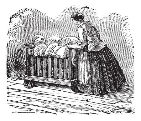 driewieler: Oude gegraveerde afbeelding van een vrouw het transport van kleding op driewieler. Industriële encyclopedie E.-O. Lami - 1875
