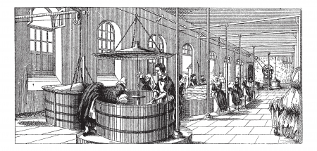 Old engraved illustration of the laudry room of  Lariboisiere Hospital (Paris) with many women washer working in it . Industrial encyclopedia E.-O. Lami - 1875.